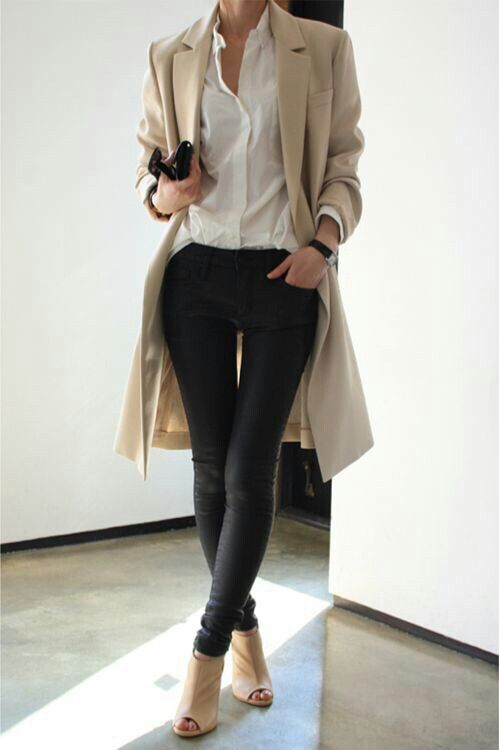 Skin tight black pants, white blouse and beige coat #classy #pretty