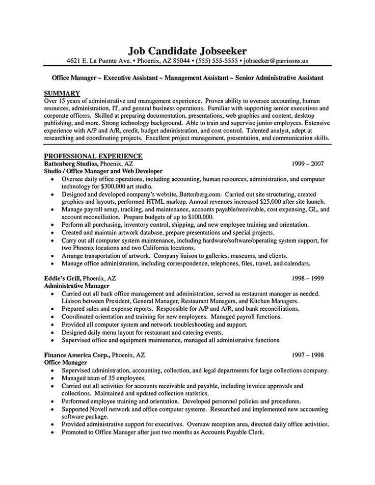 28 best Executive Assistant Resume Examples images on Pinterest - resume sample office manager