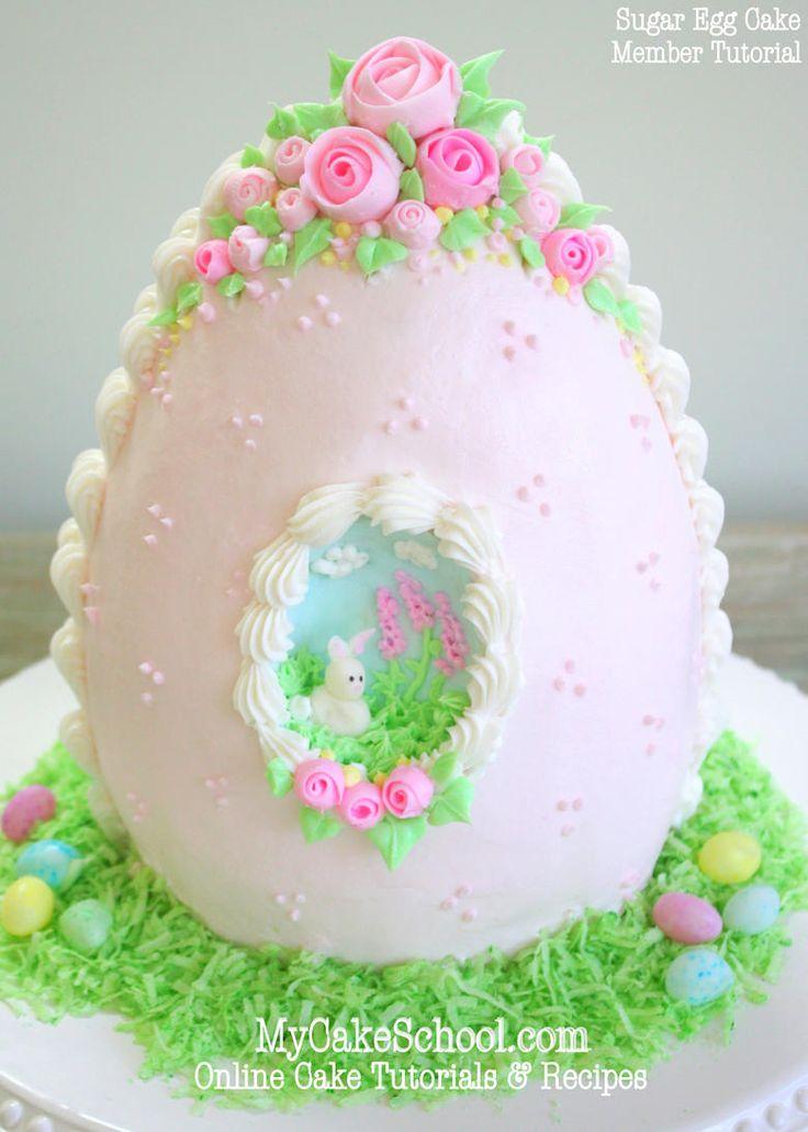 Elegant Sugar Egg Cake Tutorial by MyCakeSchool.com! {member section} Online cake Decorating Classes & Recipes!