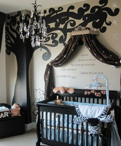 I love the curtain idea over the crib. The colors are a