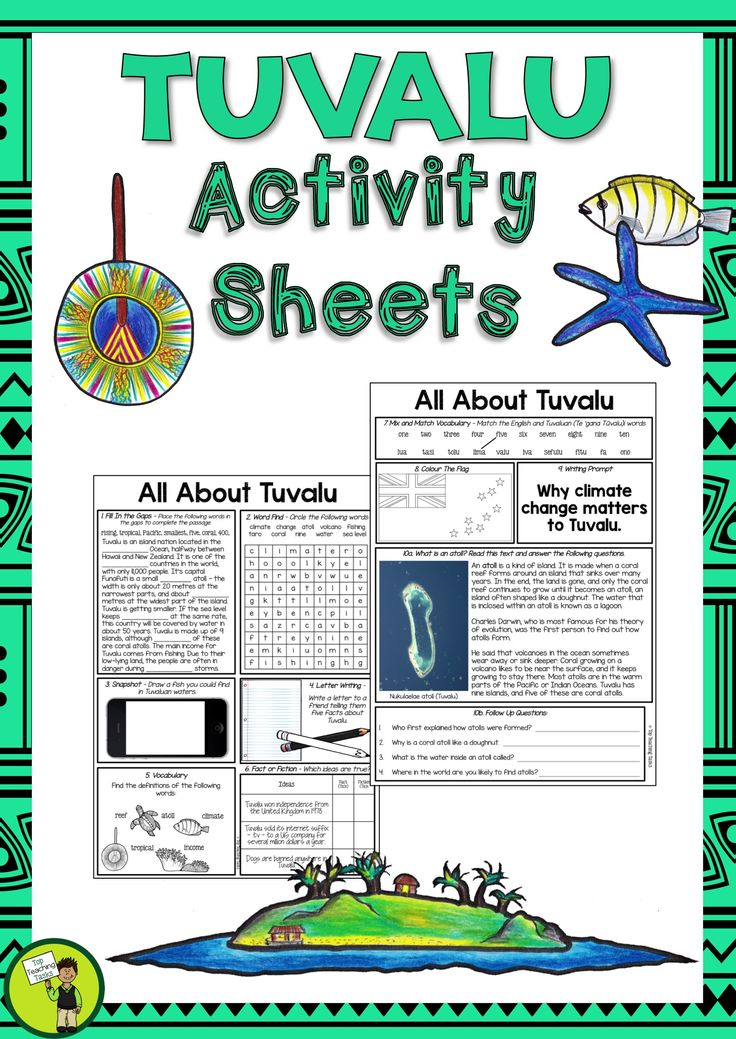 Help your students to learn about Tuvalu with our three-page activity sheet. It features eleven activities, and is ready to PRINT and GO!   This would be perfect to use during Tuvalu Language Week: Sunday 1 October – Saturday 7 October 2017. #Tuvalu #LanguageWeek