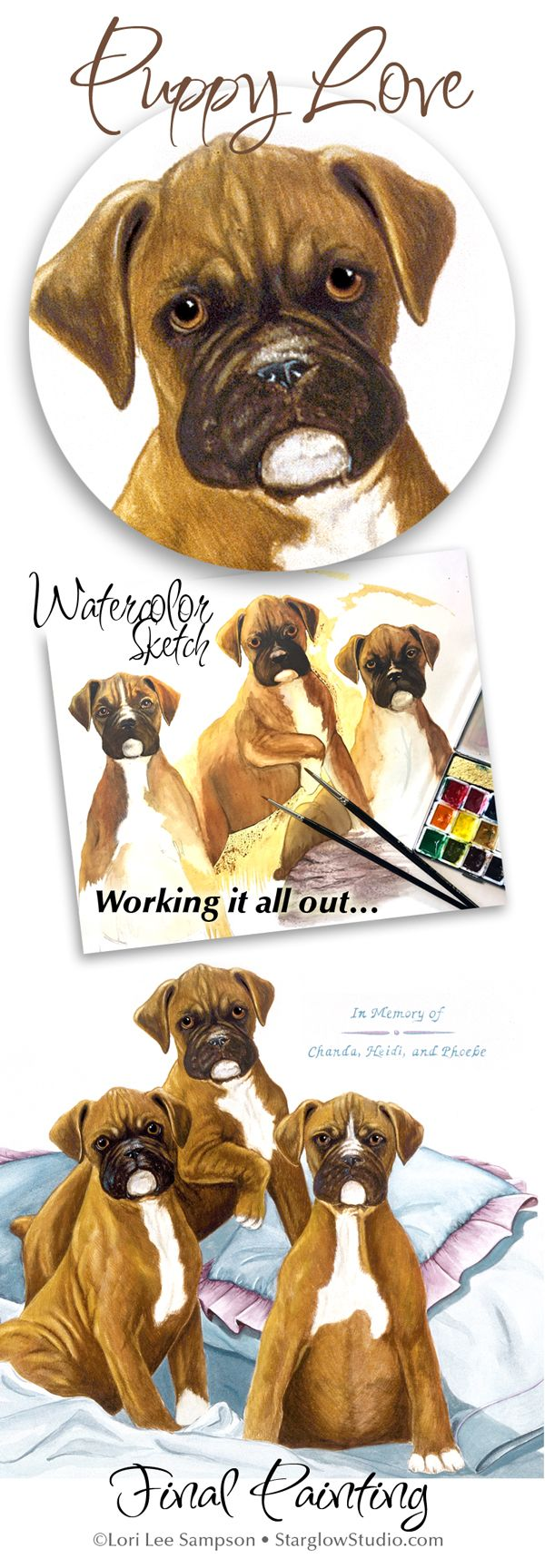 Please vote for this entry in the Pet Portrait Challenge! You can vote EVERYDAY and from EACH device at  https://wyng.io/iGIq8R You don't even have to vote for mine, but would really appreciate it! THANKS!   These darling puppies were mine! The final painting is 16x20 on watercolor board. I framed it for a dear cousin's wedding gift since one of the puppies went to her. #puppies #boxerpuppies #watercolorpainting #dogportrait #petportrait #petportraitchallenge