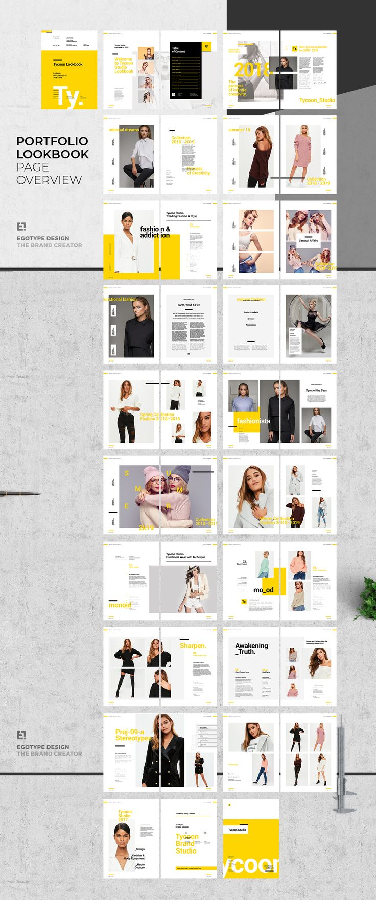 Project and Design Lookbook TemplateMinimal and Professional Work and Project Design Portfolio template for creative businesses, created in Adobe InDesign in International DIN A4 and US Letter format. This item created for showcase portfollio, works, sk…