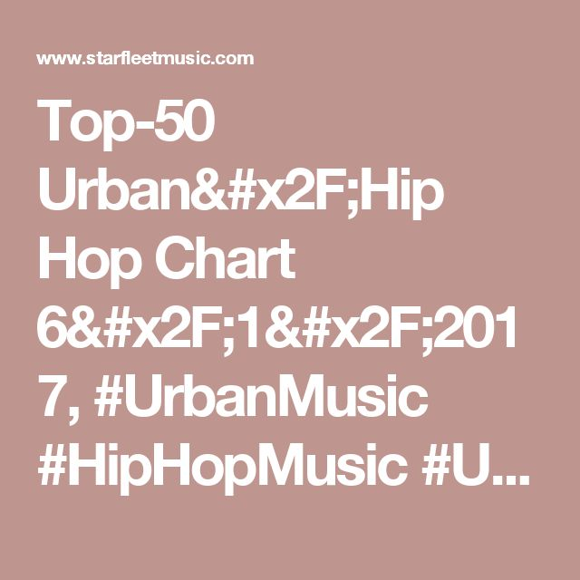 Top-50 Urban/Hip Hop Chart 6/1/2017, #UrbanMusic #HipHopMusic #UrbanRadio #HipHopRadio #UrbanDJs #HipHopDJs We do 4 different charts on the 1st & 16th of each month. Check out what's hot & charting for our global Urban/Hip Hop DJs. Feel free to share them with you friends. Some of these artist are VIP Featured Artist on our site, so check them out & see if you've found new artist to follow.