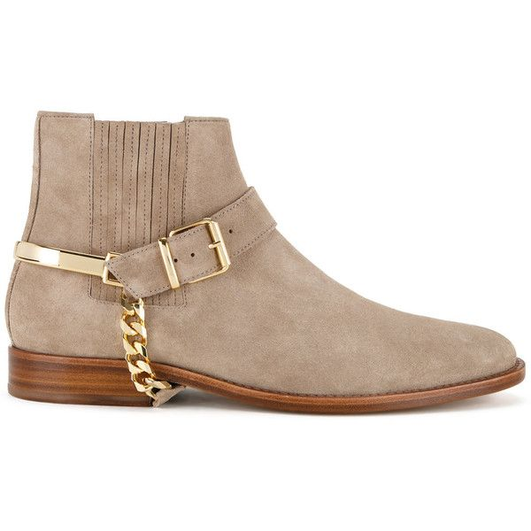 Balmain ankle boots ($1,175) ❤ liked on Polyvore featuring men's fashion, men's shoes, men's boots, brown, balmain mens shoes, mens brown shoes, mens brown ankle boots, balmain mens boots and mens brown boots