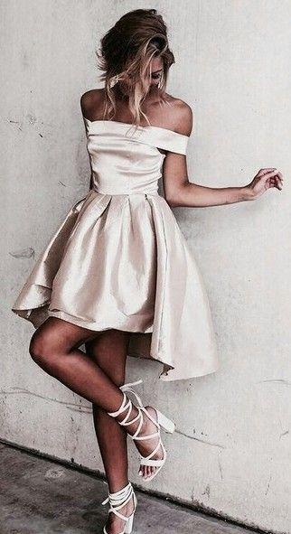 Shiny Hi-Lo Off-the-Shoulder A-line Homecoming Dresses_Graduation Dress