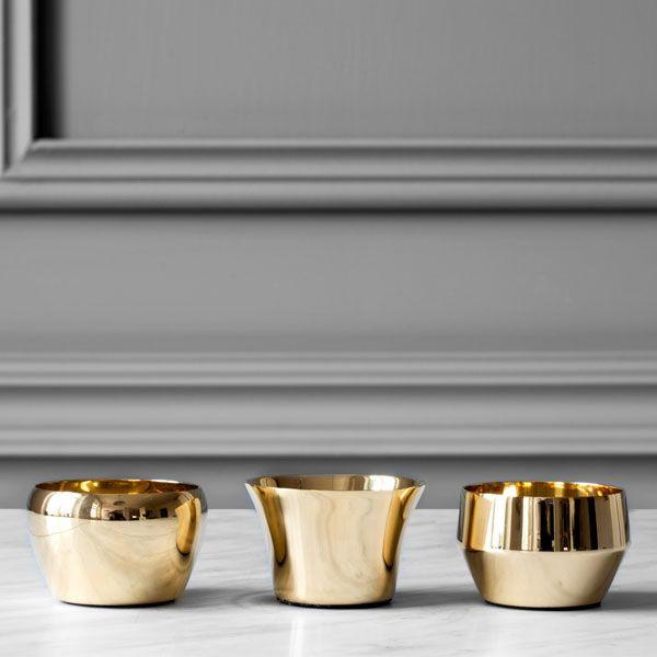 Skultuna Kin tealight set of 3, brass | Skultuna Kin | Candleholders | Decoration | Finnish Design Shop