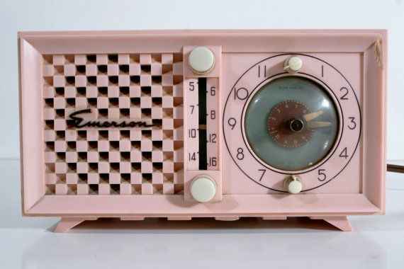 Midcentury Modern Pink Emerson Radio and Clock by resurfacefd, $55.00