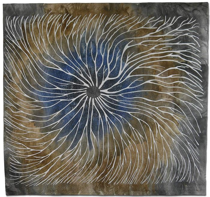 This reminds me of Aboriginal paintings. It is actually fibre art by Betty Busby #fine #art