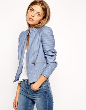 I gotta have this!! Love the color!! ASOS Structured Shoulder Biker With Quilt Detail