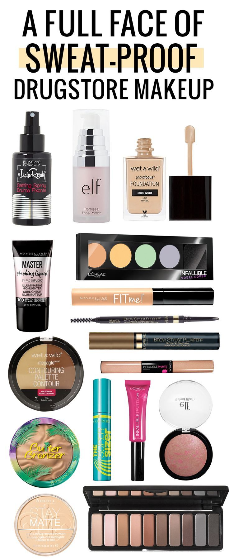 A full face of amazing sweat-proof drugstore makeup! Click through to see the tutorial!