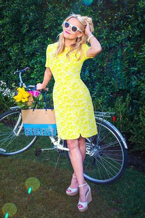 Reese Witherspoon wearing Draper James Hutton Jacquard Dress and Saint Laurent Sl 102 Surf Sunglasses in White