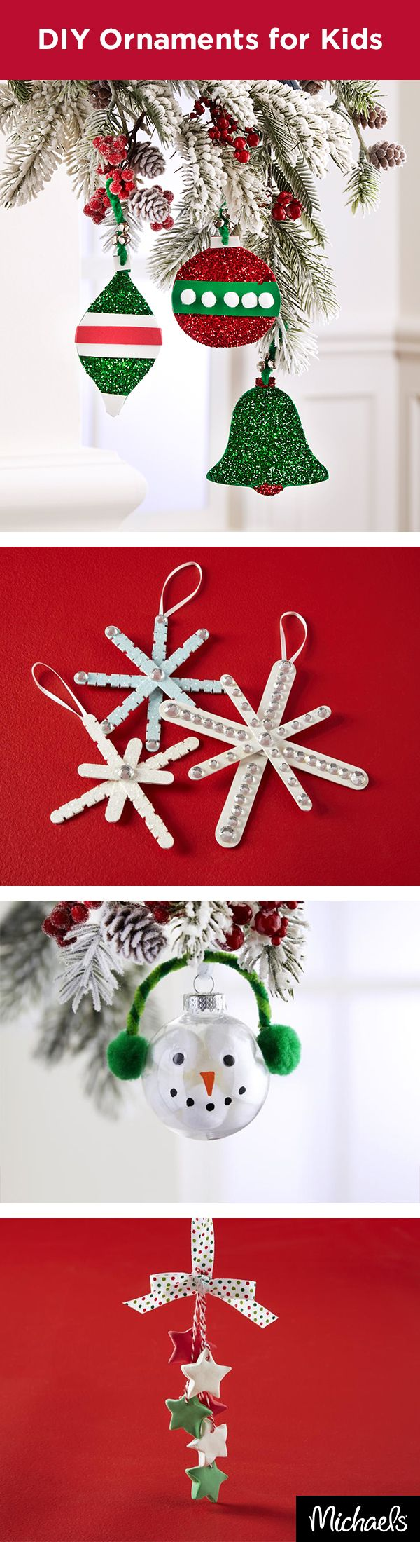 Craft DIY ornaments with the kids this holiday season. Using craft foam, pom poms, clay and craft sticks, children will love making their own adornments for the tree. Get all the supplies you need to make these ornaments at your local Michaels store.