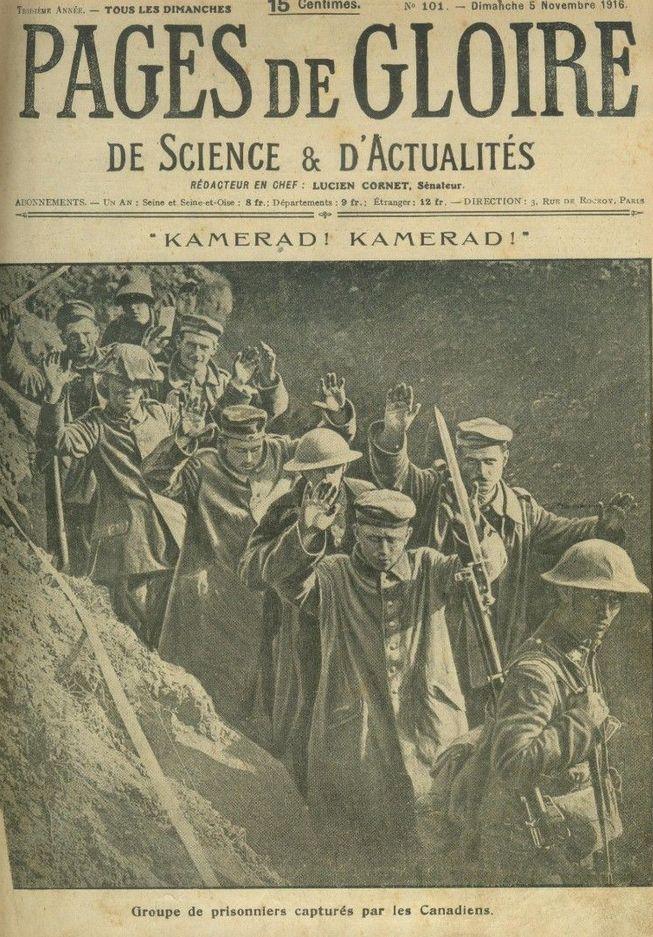 WWI, 5 Nov 1916; German POWs, captured by the Canadians. - Pages de Gloire ( ebay)