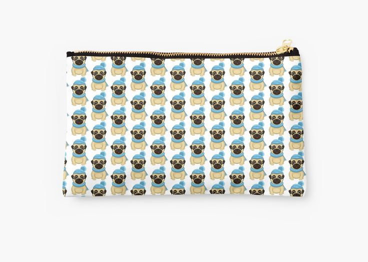 Winter Pug Studio Pouches by AnMGoug on Redbubble. #Winter #pug #bag #studiopouch