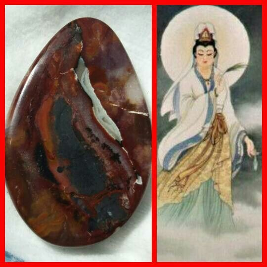 Natural Pictorial Agate abstract image of a Goddess Kwan im