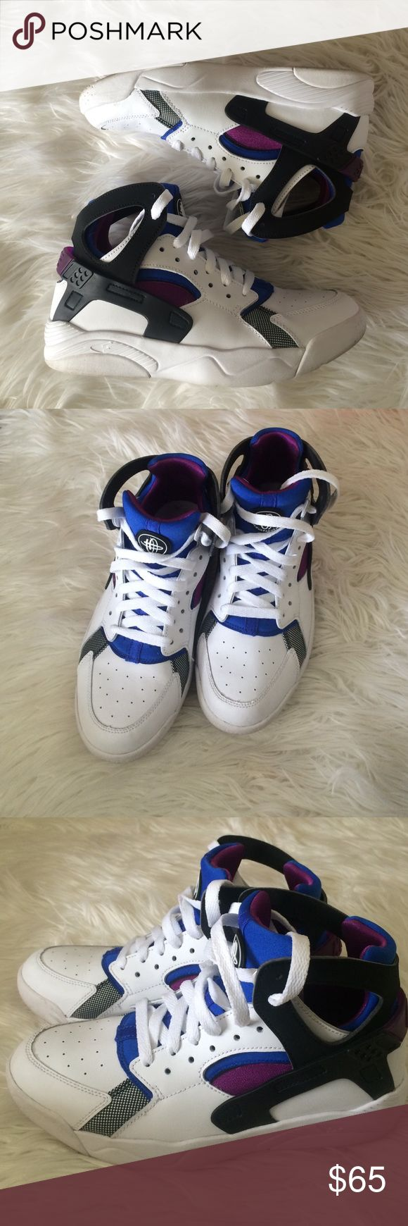 Nike Huaraches These Nike Flight (GS) Huaraches are youth size 6. Equivalent to a women's 7.5 in Huaraches. They are white high top with royal blue and purple. Comfortable and only worn a few times. Comes with original box, not pictured. I paid $90 for them. Nike Shoes Athletic Shoes