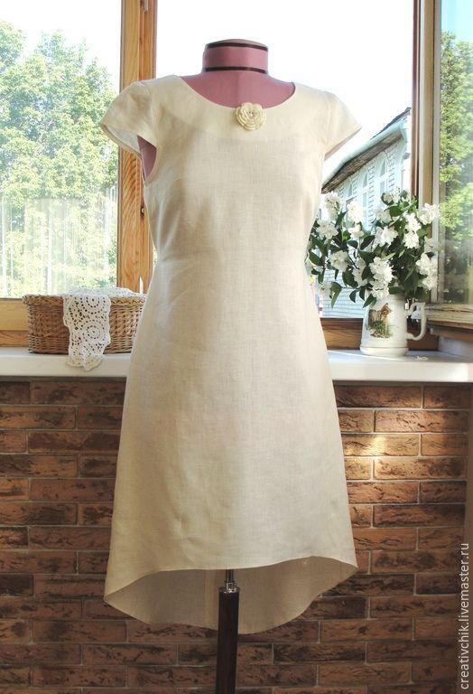 Купить Платье из натурального льна сливочного цвета. - белый, однотонный, платье, платье летнее