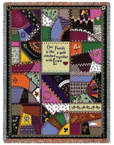 Our Family Is Like A Quilt Stitched With Love Art Tapestry Throw