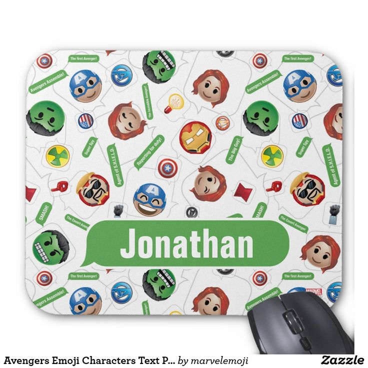 Avengers Emoji Characters Text Pattern. Producto disponible en tienda Zazzle. Tecnología. Product available in Zazzle store. Technology. Regalos, Gifts. #Mousepads