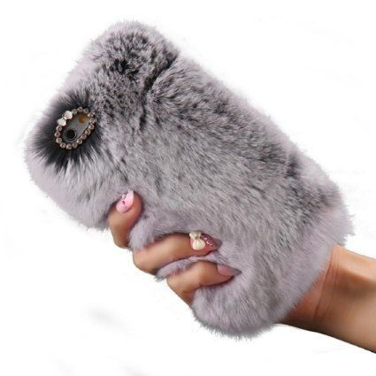Malloom® Fluffy Villi Fur Plush Wool Case Cover + PEN + Film (iPhone 6/ 6S Plus, Grey): Amazon.co.uk: Electronics #Iphone5s