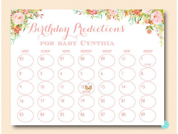 Girl Baby Prediction Calendar baby prediction by MagicalPrintable #babyshowerideas4u #birthdayparty  #babyshowerdecorations  #bridalshower  #bridalshowerideas #babyshowergames #bridalshowergame  #bridalshowerfavors  #bridalshowercakes  #babyshowerfavors  #babyshowercakes