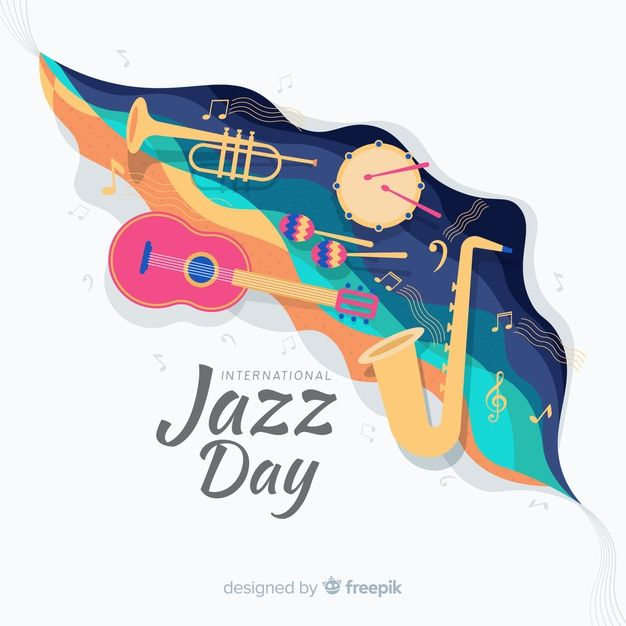 Download Flat International Jazz Day Background For Free In 2020 World Music Day Copyright Free Music Disney Quotes Funny