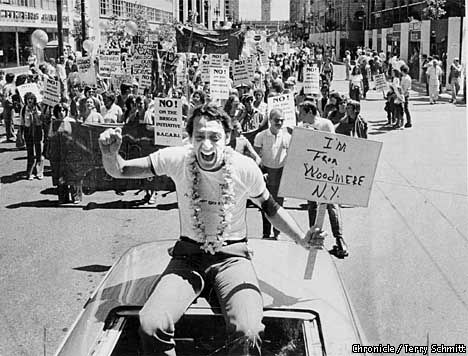 "Harvey Milk. An American gay activist who fought for gay rights and became California's first openly gay elected official. Following his assassination, an estimated 30000 people marched, holding a candle, from castro street to city hall. Harvey Milk once said ""If a bullet should enter my brain, let that bullet destroy every closet door in the country"""