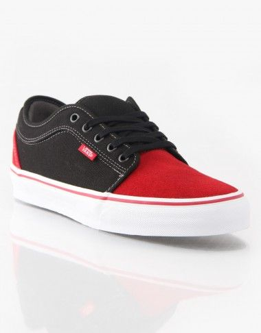 vans chukka low red black