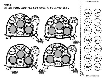 Sight Word Worksheets: Turtle Power : 50+ Words (Set Two