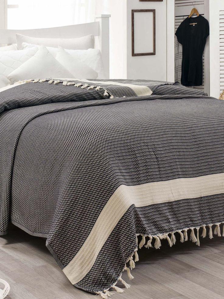 Fekete-Fehér pamut ágytakaró