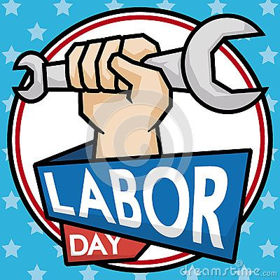 Worker hand holding a wrench to celebrate Labor Day in cartoon poster with squared outline.