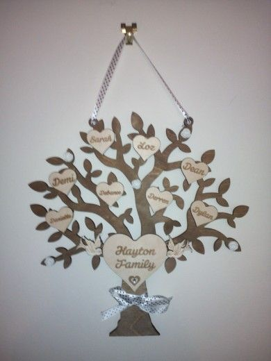 Wooden Family Tree Laser Engraved Family Tree Craft