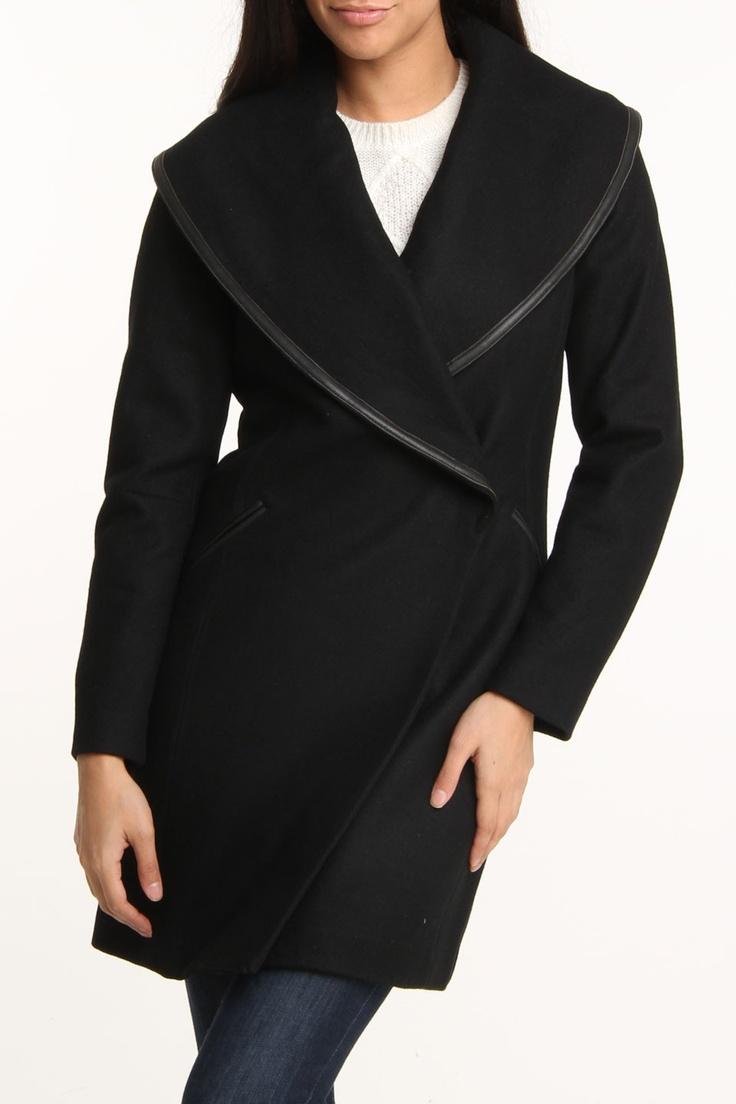 cynthia rowley Shawl Collar Wool Coat In Ebony