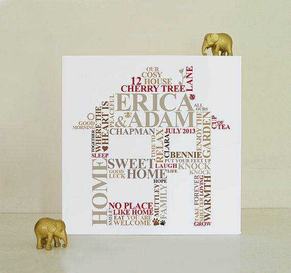 Canvas Housewarming Print. New Home word cloud art gift. Personalised picture relationship engagement present unique typography.