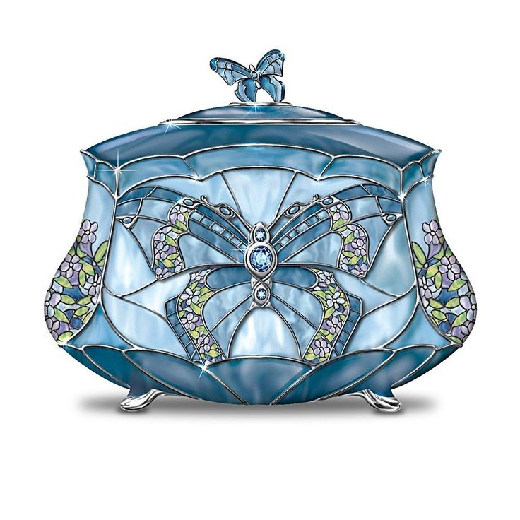 Butterfly Music Box, Tiffany-inspired Stained Glass Design. Porcelain with Crystalline Gems and Platinum,