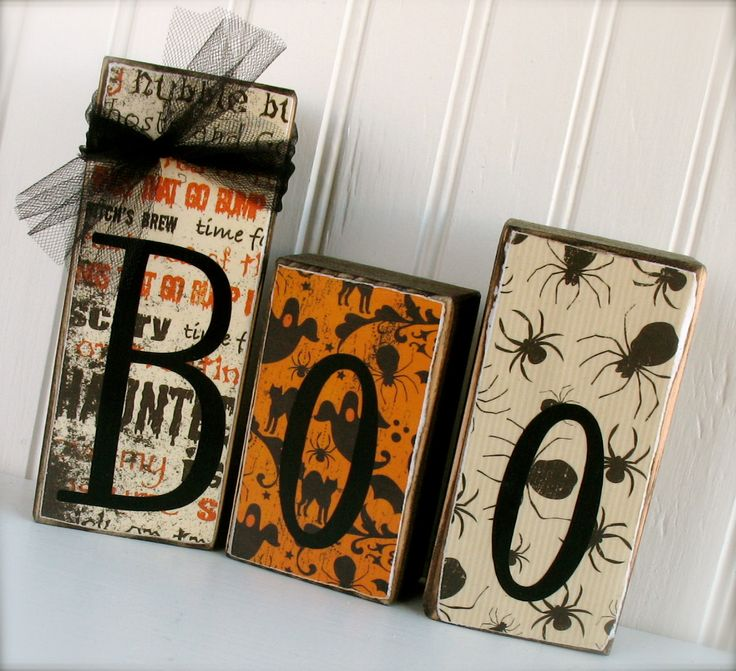 Boo 3 Block Halloween Set.  LAST DAY to order.  Perfect for Halloween Decor. limited number available. $12.95, via Etsy.