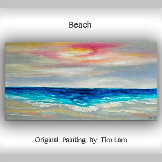 Original abstract painting oil painting Sea art Sunrise Beach Wave on gallery wrap canvas 48×24