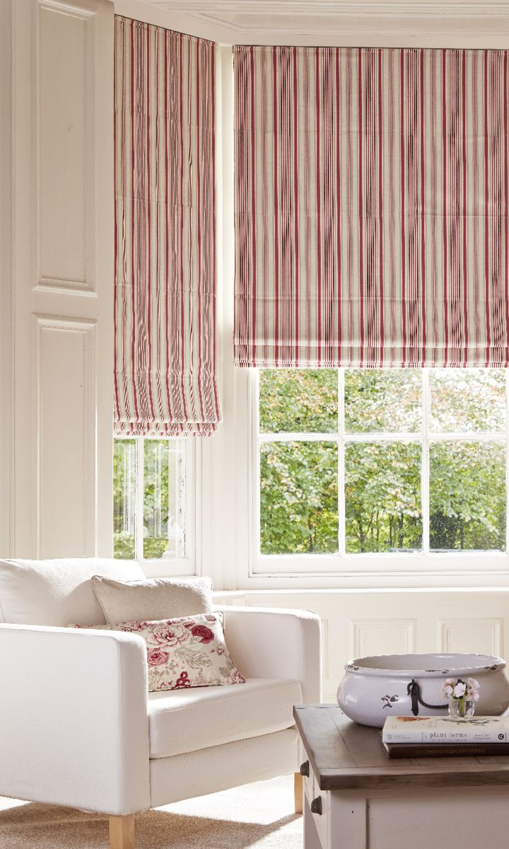 The Hatti Raspberry Roman blind part of