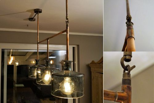 Customer's functional and beautiful - upcycled lighting design for a Dining Room with cut glass