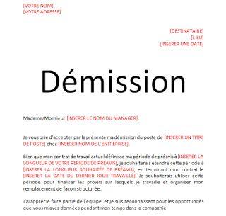 Modèle lettre de démission avec préavis en word doc   Lettre de démission, Demission, Lettre a