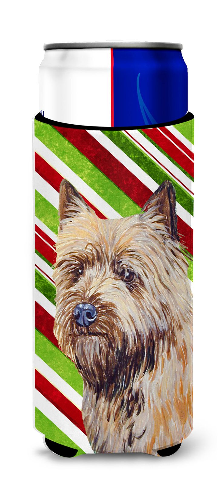 Cairn Terrier Candy Cane Holiday Christmas Ultra Beverage Insulators for slim cans LH9230MUK