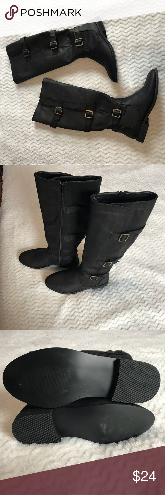 NWOT Shoe Dazzle Buckle Knee-High Boots Black Fabiola flat boot from Shoe Dazzle with buckle details. Never worn, new without box/tags. They're a size 7 but Shoe Dazzle shoes fit small, so these are more like a 6.5. Original price is $39.95. Shoe Dazzle Shoes