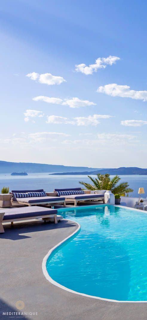 The infinity pool at the Katikies Hotel in Santorini: Greek Island chic
