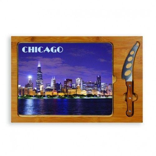Chicago - Rectangular Glass Top Cutting Board w/ knife