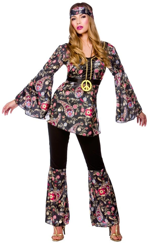 Details About Peace Hippie Ladies Costume 1960s Groovy