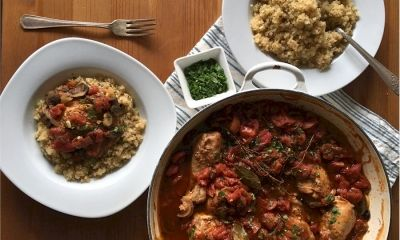 Recipes - Braised Chicken with Tomatoes and Mushrooms - In an effort to balance out my sugar rebound from the holidays, I immediately got to work on a dish that would be warm, satisfying and serve as perfect leftovers during the week.