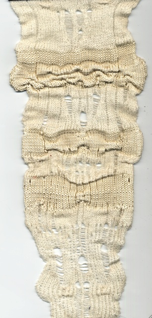 Jessica CAstellano knit sample Kera's thought: the juxtaposition of fine vs think yarn mixed with ladders, holes and tucks creates a fluid piece of knit...