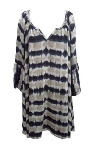 Black and Taupe Rayon Tunic