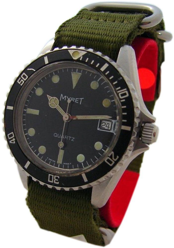 Myret Quartz Uhr Edelstahl swiss made vintage diver men gents quarz watch